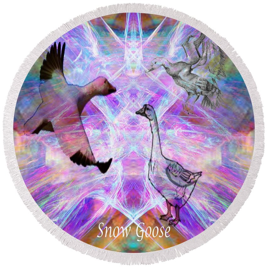 Snow Goose Round Beach Towel featuring the digital art Snow Goose Moon by Rich Baker