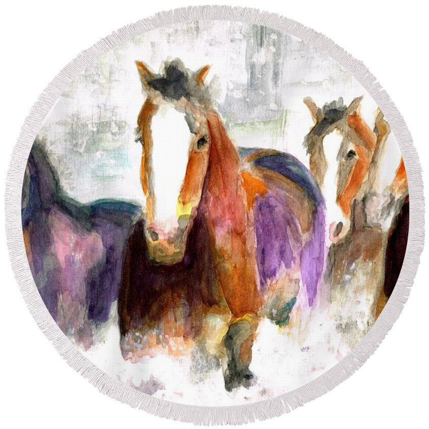 Horses Round Beach Towel featuring the painting Snow Horses by Frances Marino