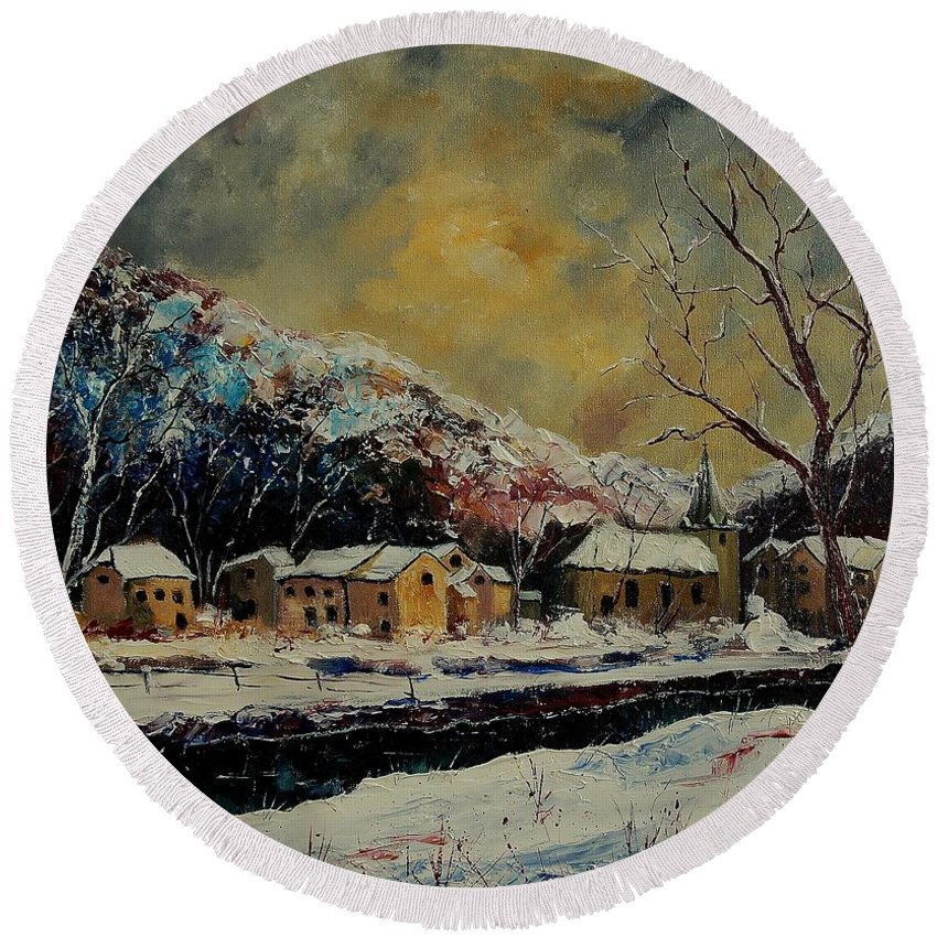 Winter Round Beach Towel featuring the painting Snow In Bohan by Pol Ledent