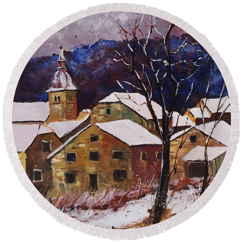 Landscape Round Beach Towel featuring the painting Snow In Chassepierre by Pol Ledent