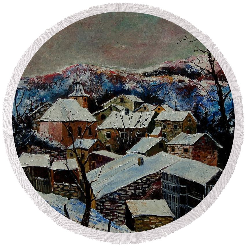 Winter Round Beach Towel featuring the painting Snow In Laforet 78 by Pol Ledent