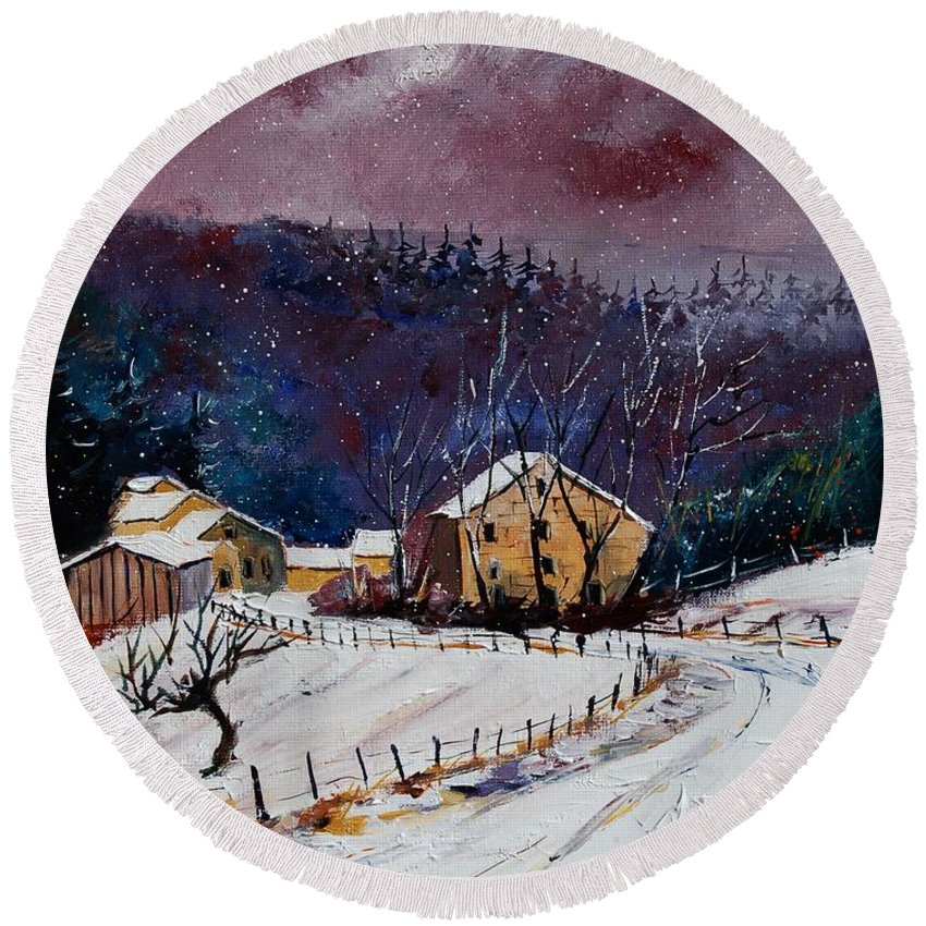 Landscape Round Beach Towel featuring the painting Snow In Sechery by Pol Ledent