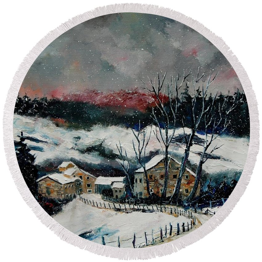 Winter Round Beach Towel featuring the painting Snow In Sechery Redu by Pol Ledent