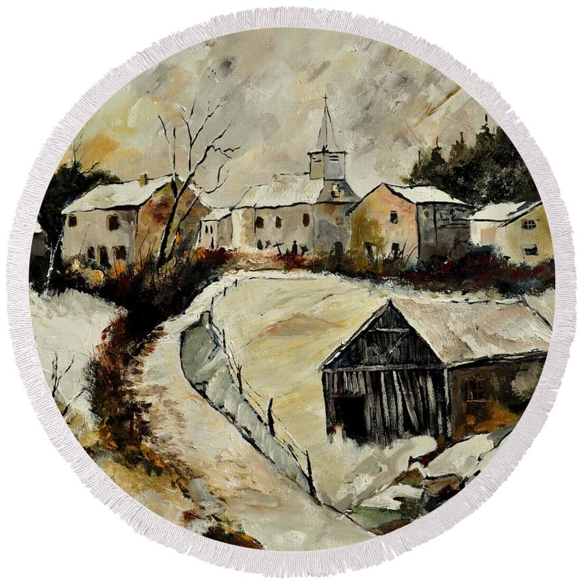 Snow Round Beach Towel featuring the painting Snow In Sensenruth by Pol Ledent