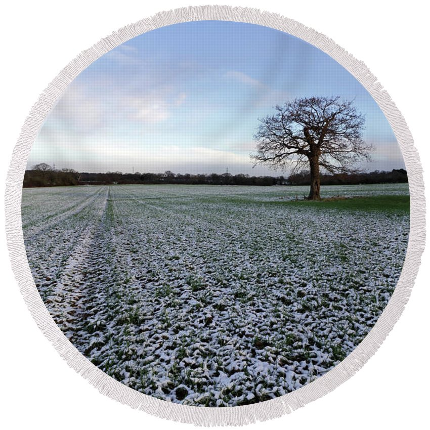 Snow In Surrey Countryside Round Beach Towel featuring the photograph Snow In Surrey Countryside by Julia Gavin