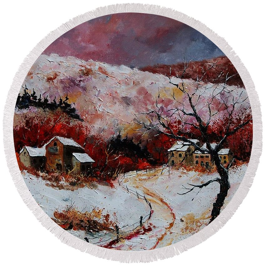 Snow Round Beach Towel featuring the painting Snow In The Ardennes 78 by Pol Ledent