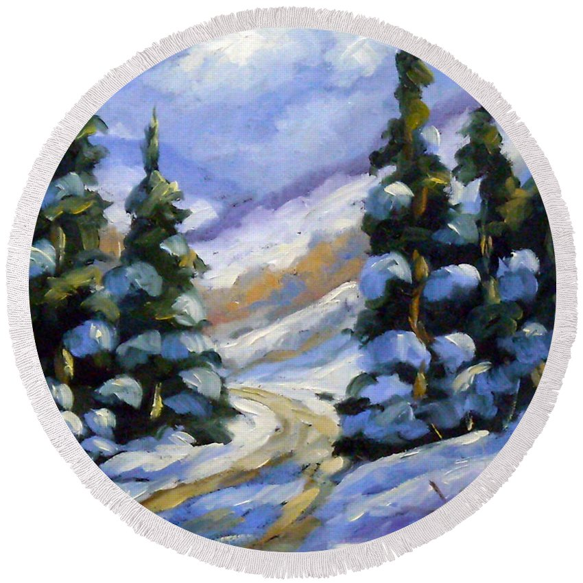 Art Round Beach Towel featuring the painting Snow Laden Pines by Richard T Pranke