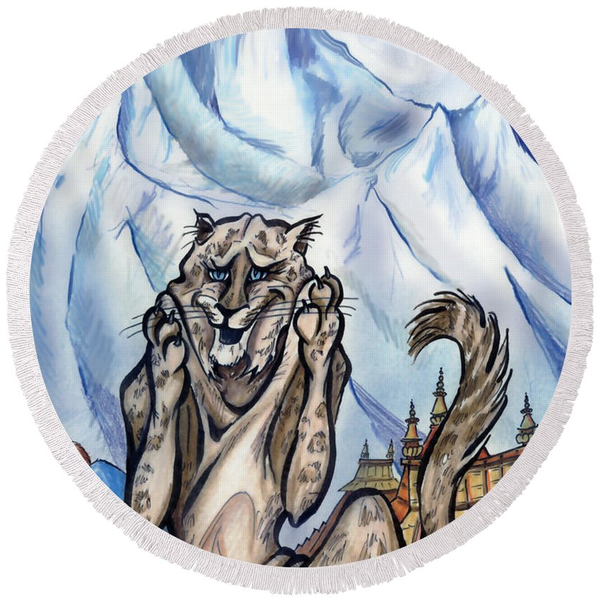 Ice Round Beach Towel featuring the painting Snow Leopard by Kevin Middleton