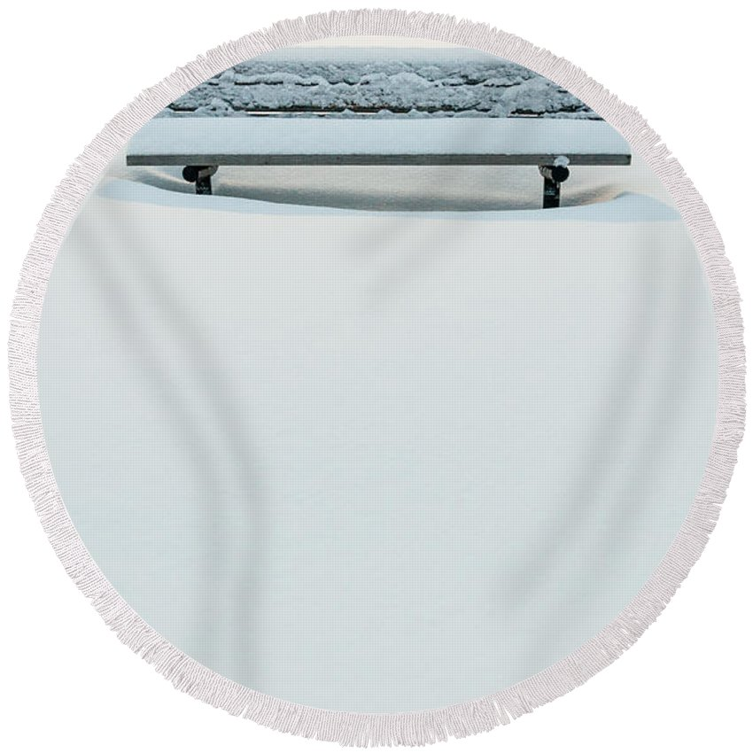 New Jersey Round Beach Towel featuring the photograph Snow Minimalist by Kristopher Schoenleber