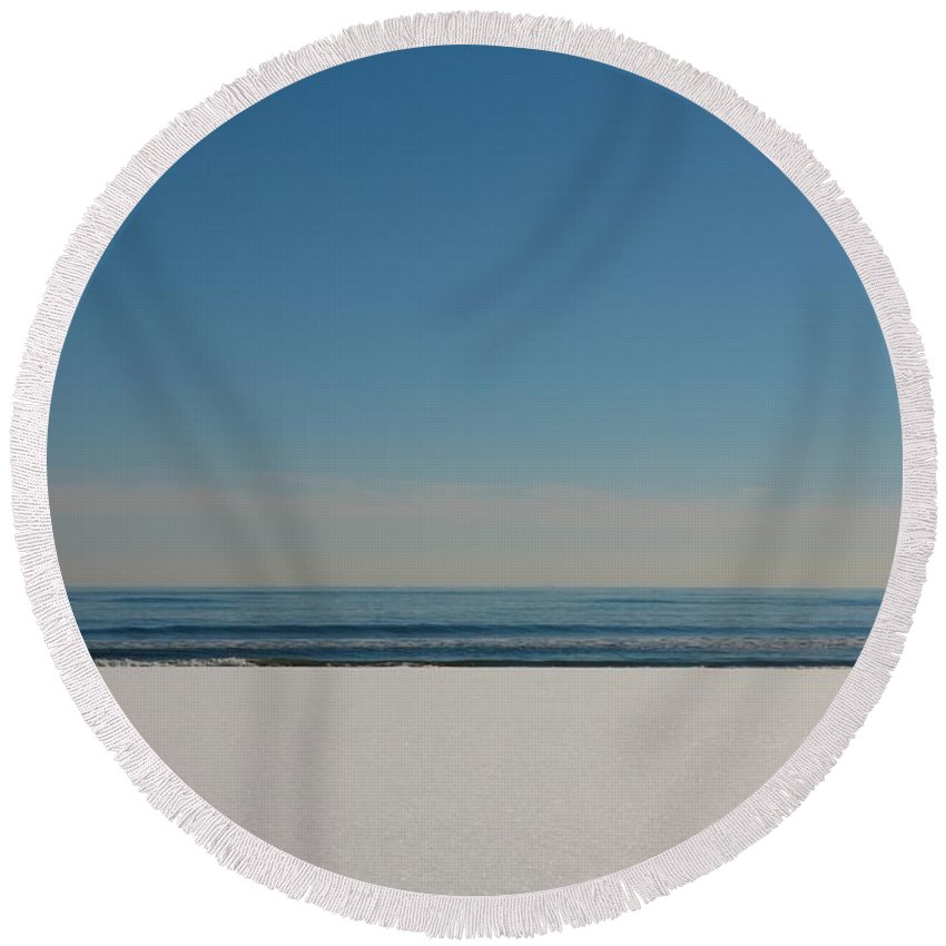 Art & Collectibles Round Beach Towel featuring the photograph Snow On The Beach by MingTa Li
