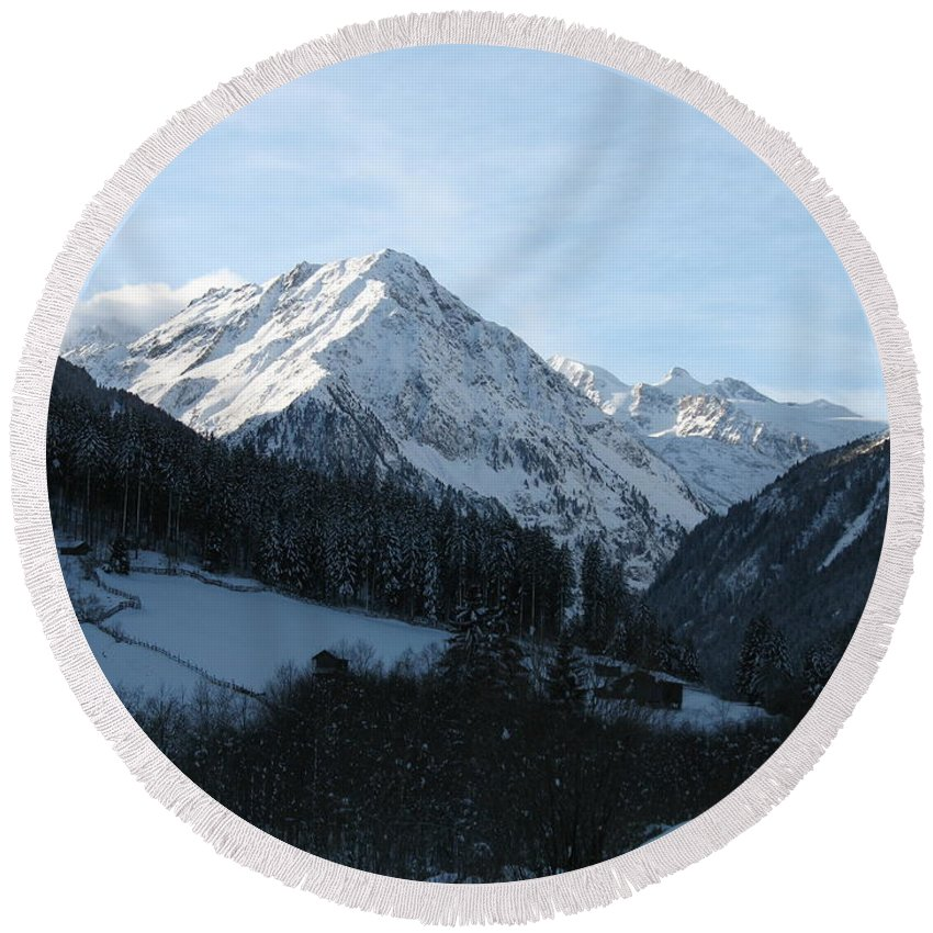 Snow Round Beach Towel featuring the photograph Snow On The Mountains by Christiane Schulze Art And Photography
