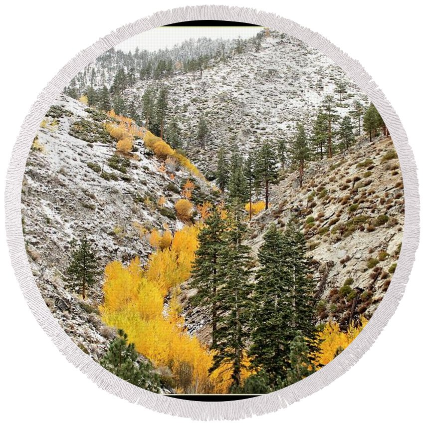 Fall Round Beach Towel featuring the photograph Snow Storm by Roger Skougard