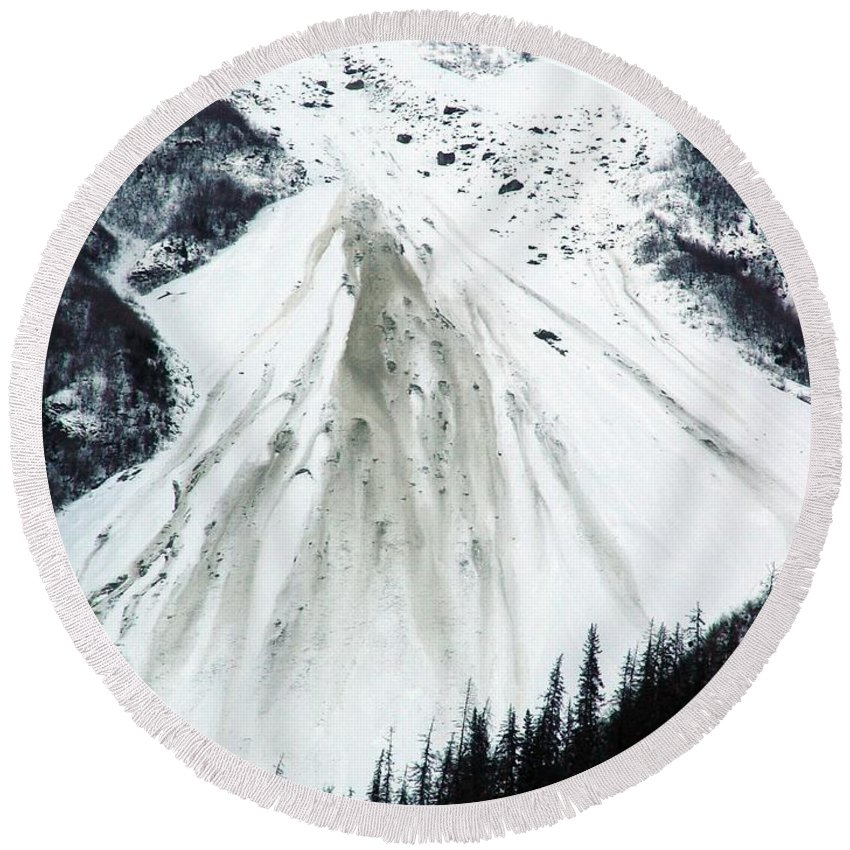 Landscape Round Beach Towel featuring the photograph Snow Then Land Slide by Ron Bissett