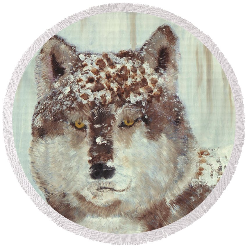Dog Round Beach Towel featuring the painting Snow Wolf by Terry Lewey