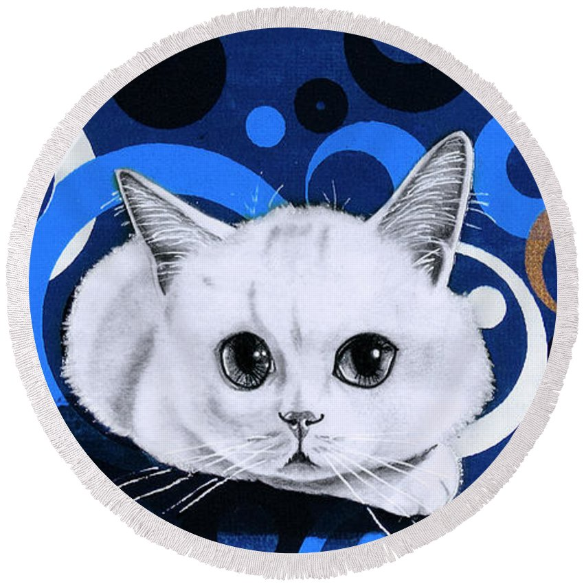 Cat Round Beach Towel featuring the drawing Snowball Encircled by Mary Williams