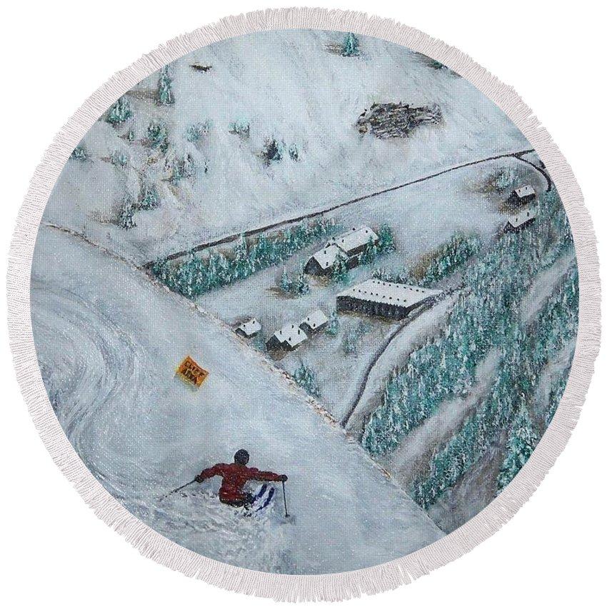 Ski Round Beach Towel featuring the painting Snowbird Steeps by Michael Cuozzo