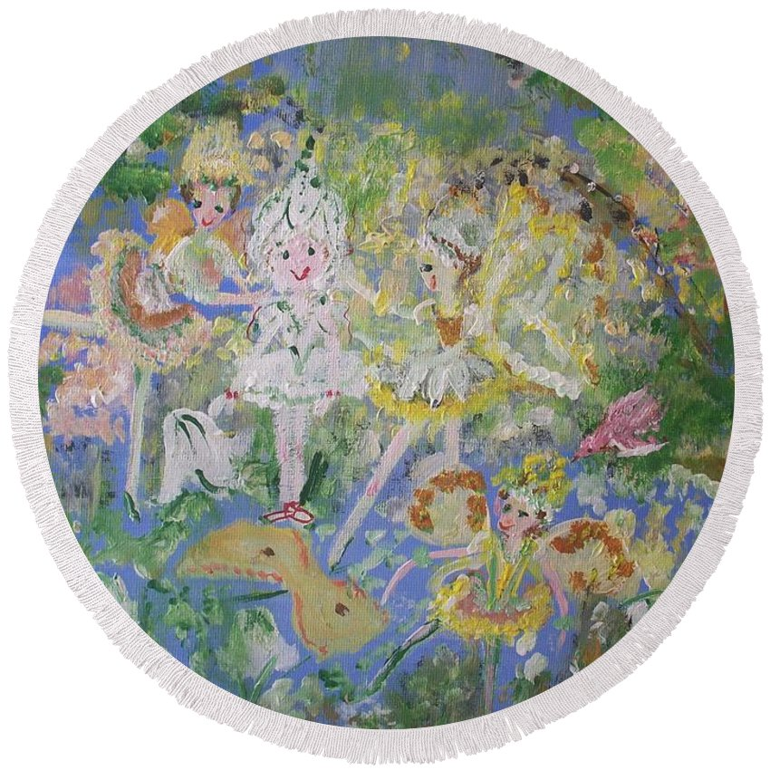 Snowdrop Round Beach Towel featuring the painting Snowdrop The Fairy And Friends by Judith Desrosiers