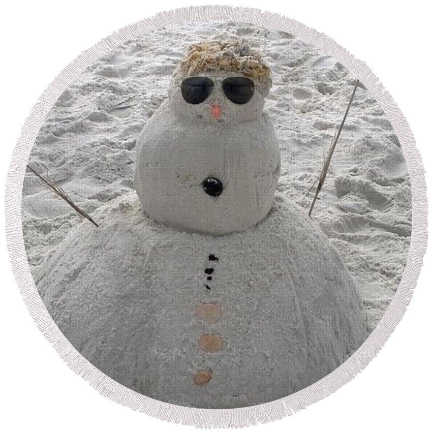 Beach Round Beach Towel featuring the photograph Snowman On The Beach by Gayle Miller