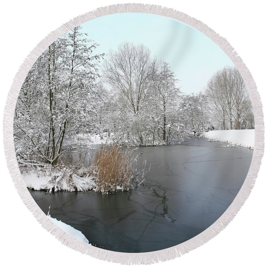 Panorama Round Beach Towel featuring the photograph Chilled Scenery Around Frozen Canals by Erin Larcher