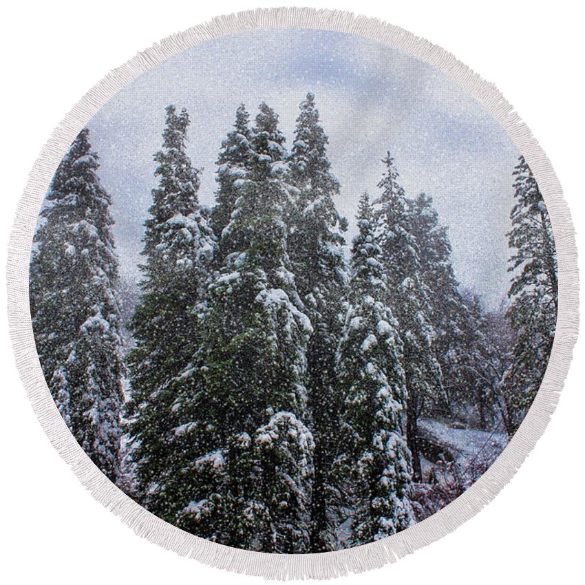 Big Bear Round Beach Towel featuring the photograph Snowy Christmas At Big Bear Lake by Tommy Anderson