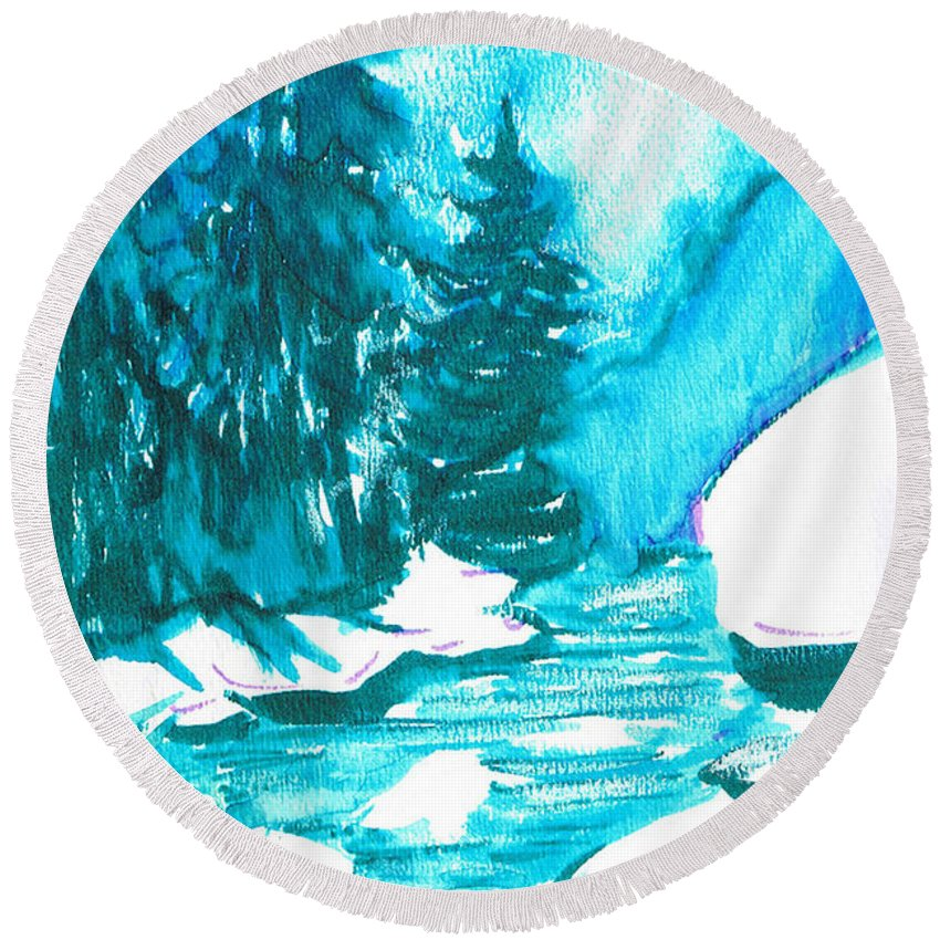 Chilling Round Beach Towel featuring the mixed media Snowy Creek Banks by Seth Weaver