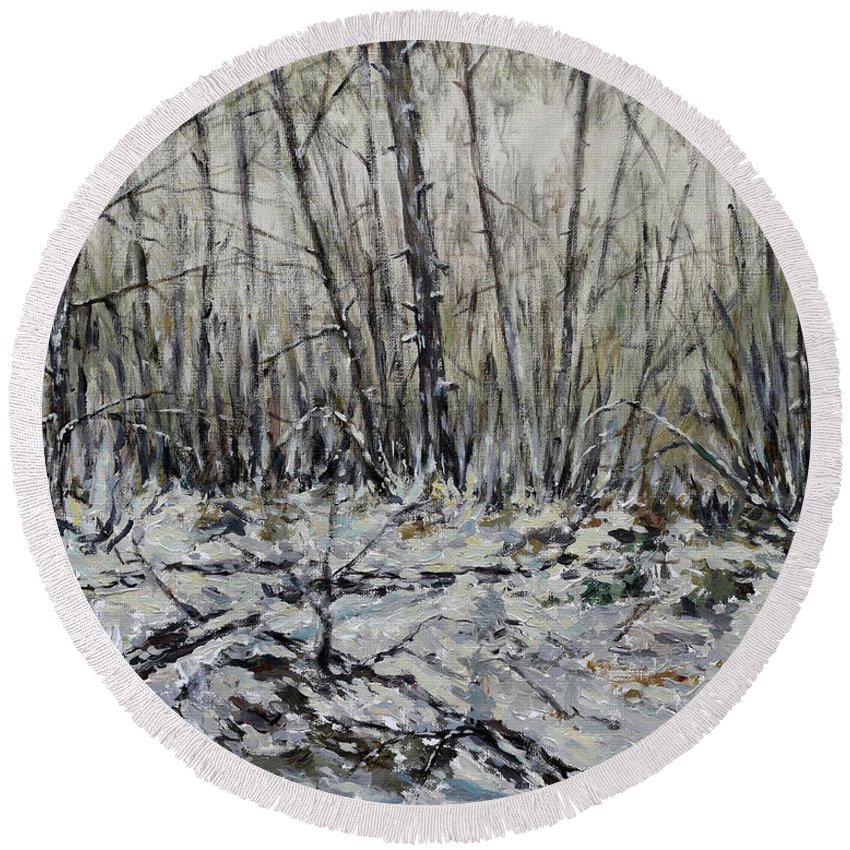 Painting Round Beach Towel featuring the painting Snowy Forest by Eugene Kuperman