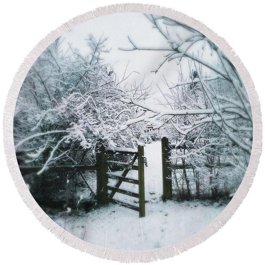 Garden Round Beach Towel featuring the photograph Snowy Garden Gate Three by Mo Barton