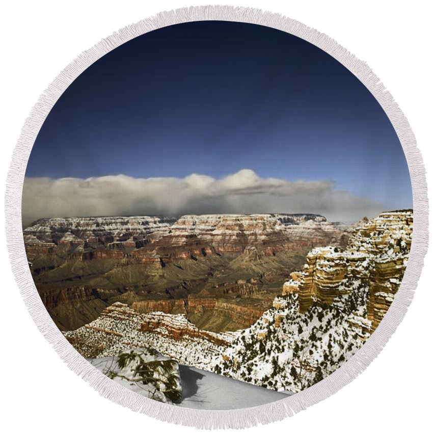 Grand Canyon Round Beach Towel featuring the photograph Snowy Grand Canyon by Sally Weigand
