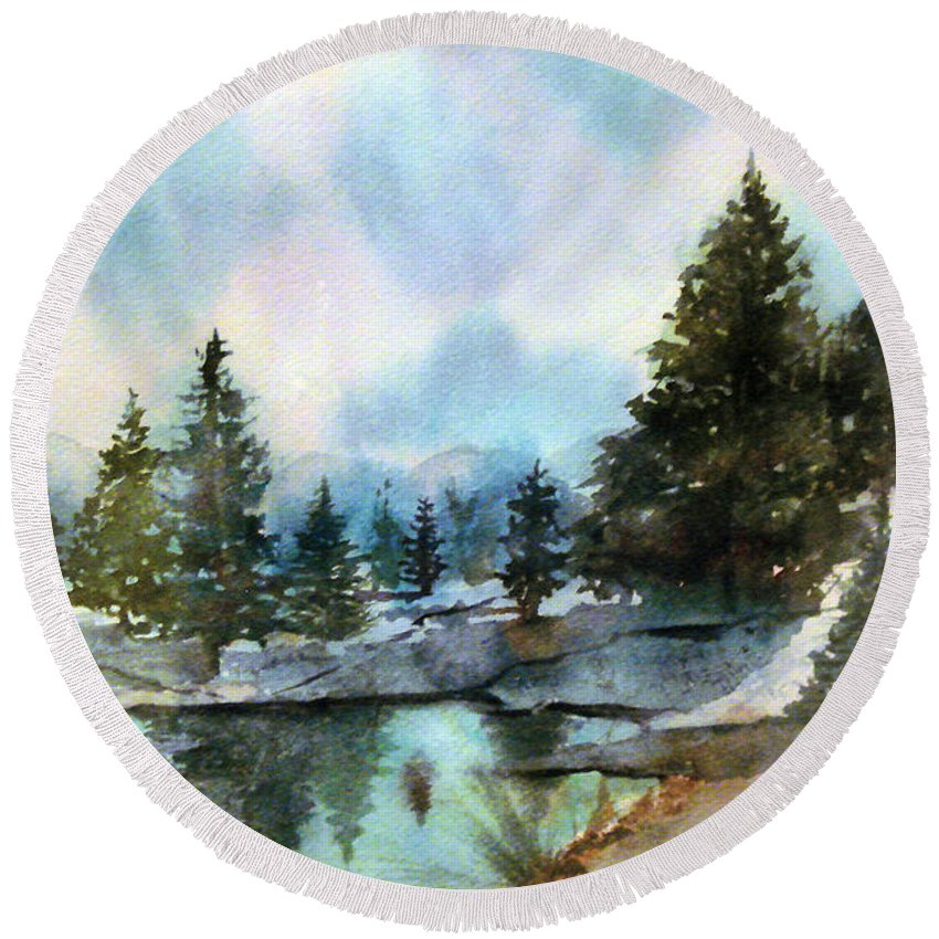 Watercolor Round Beach Towel featuring the painting Snowy Lake Reflections by Debbie Lewis
