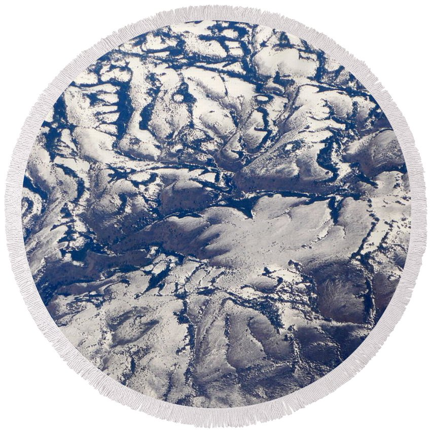 Aerial Round Beach Towel featuring the photograph Snowy Landscape Aerial by Carol Groenen