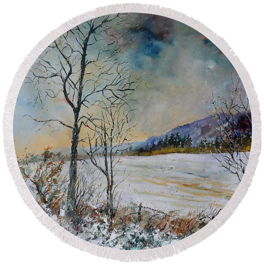 Landscape Round Beach Towel featuring the painting Snowy Landscape by Pol Ledent