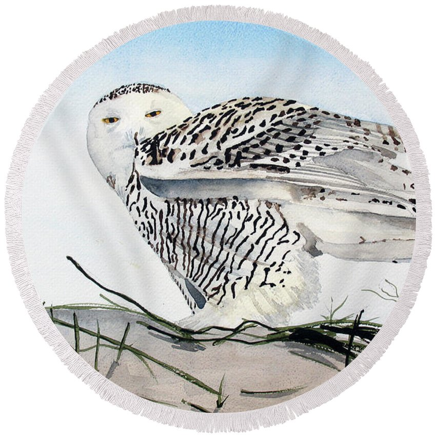 Snowy Owl Round Beach Towel featuring the painting Snowy Owl by Barry Levy