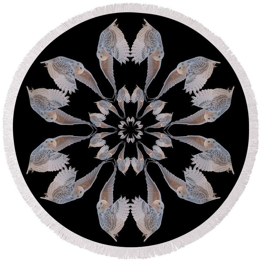Kaleidoscope Round Beach Towel featuring the photograph Snowy Owl Snowflake by Rhoda Gerig