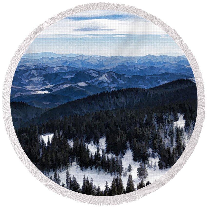 Georgia Mizuleva Round Beach Towel featuring the digital art Snowy Ridges - Impressions Of Mountains by Georgia Mizuleva