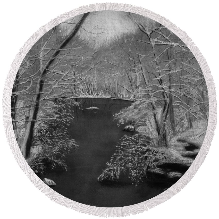 Black And White Round Beach Towel featuring the painting Snowy River by Lynn Quinn