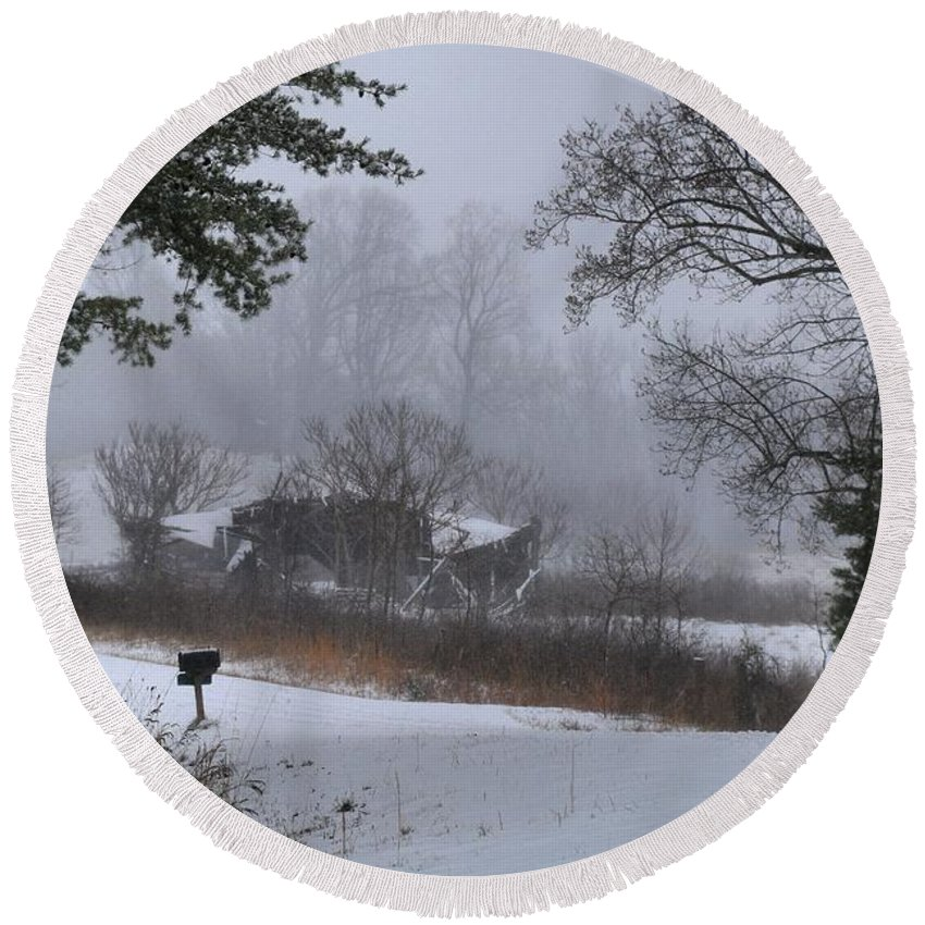 Snow Round Beach Towel featuring the photograph Snowy Road 2 by Kathryn Meyer