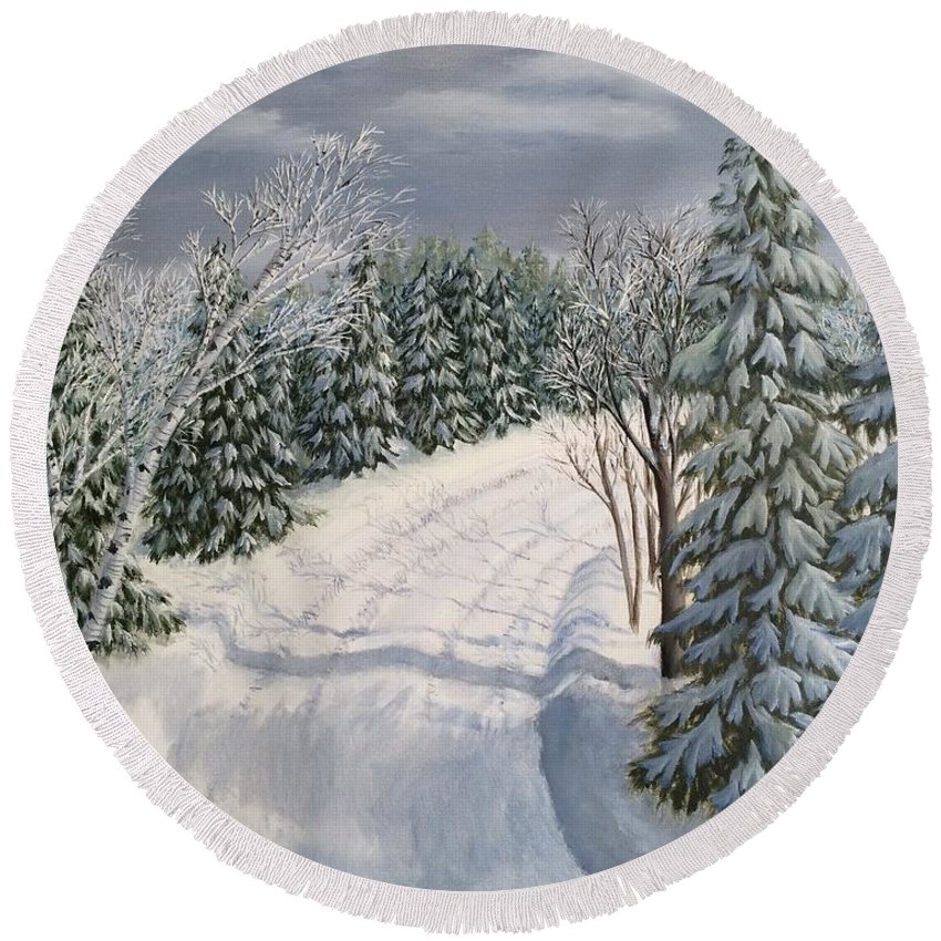 Landscape Round Beach Towel featuring the painting Snowy Road by J O Huppler