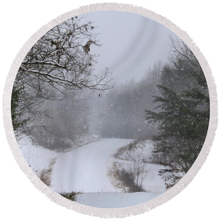 Snow Round Beach Towel featuring the photograph Snowy Road by Kathryn Meyer