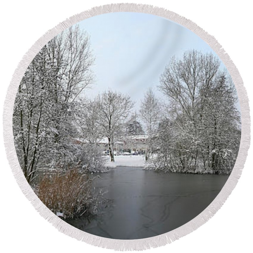 Panorama Round Beach Towel featuring the photograph Snowy Scenery Round Canals by Erin Larcher