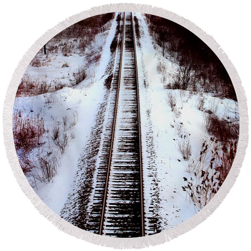 Train Tracks Round Beach Towel featuring the photograph Snowy Train Tracks by Anthony Jones