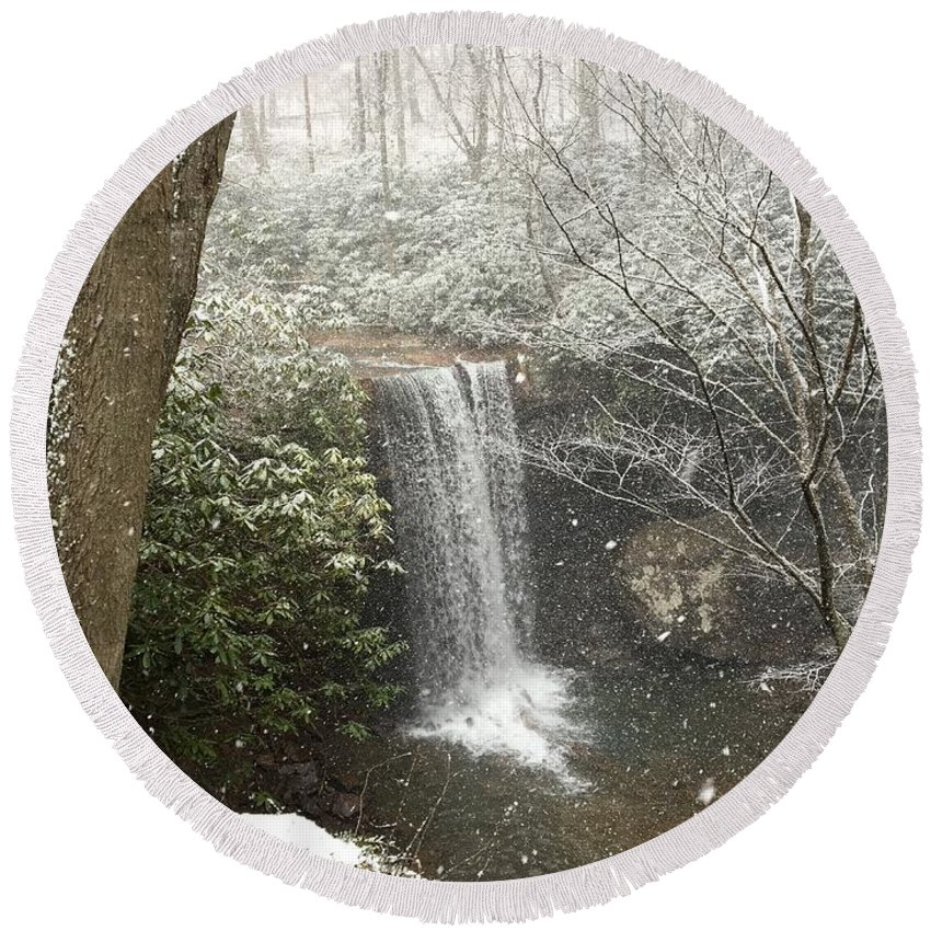 Ohiopyle Round Beach Towel featuring the photograph Snowy Waterfall by Brandon Hirt