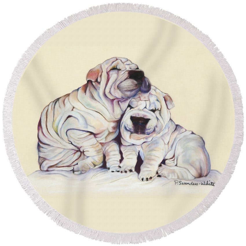 Dog Painting Round Beach Towel featuring the pastel Snuggles by Pat Saunders-White