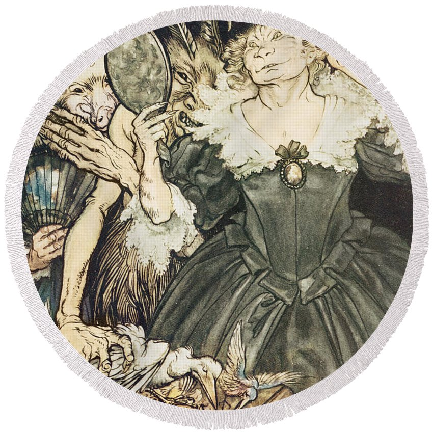 Arthur Rackham Round Beach Towel featuring the drawing So Perfect Is Their Misery by Arthur Rackham