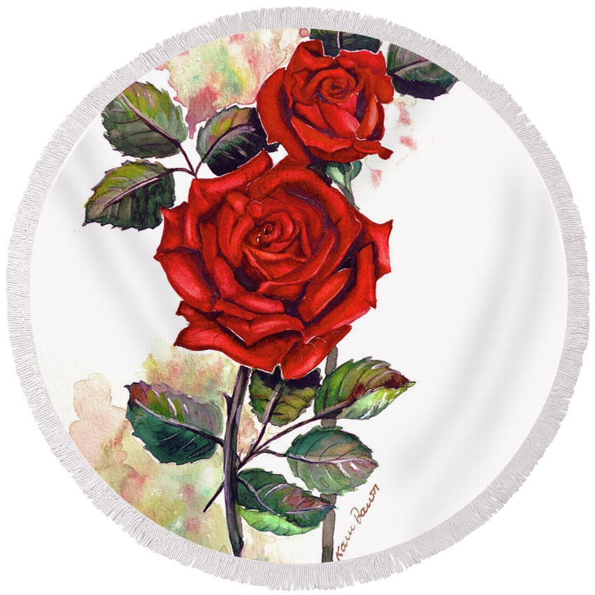 Red Rose Paintings Round Beach Towel featuring the painting So Red by Karin Dawn Kelshall- Best