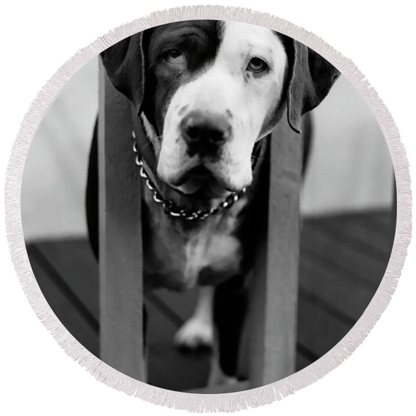 Black And White Round Beach Towel featuring the photograph So Sad by Peter Piatt