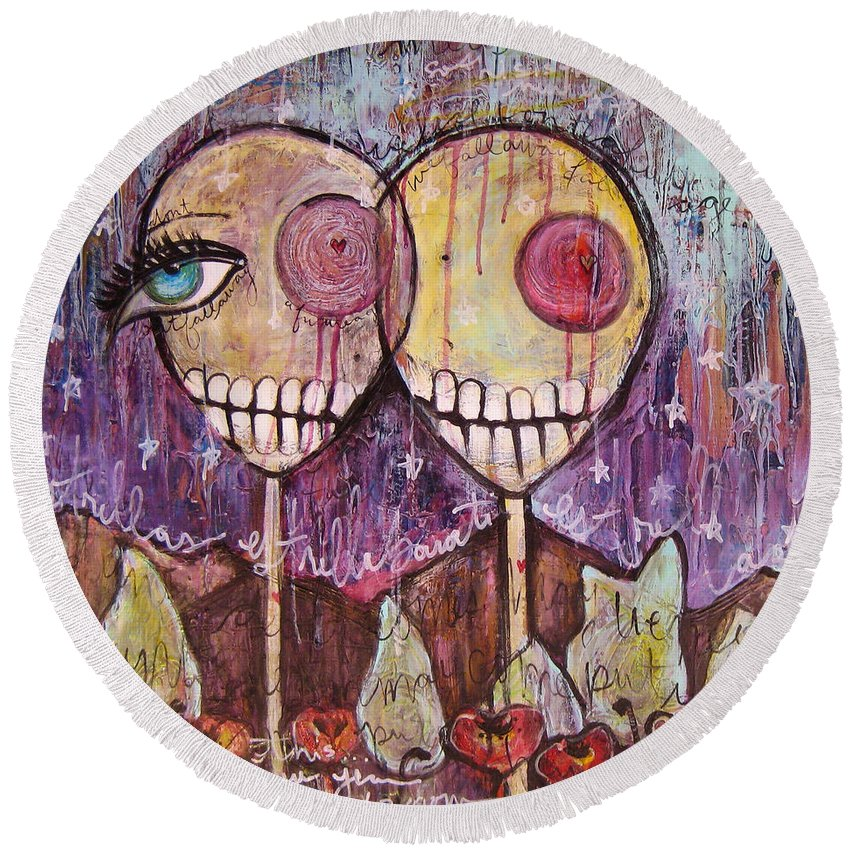 Skulls Round Beach Towel featuring the painting So This Is The New Year Estrellas And All by Laurie Maves ART