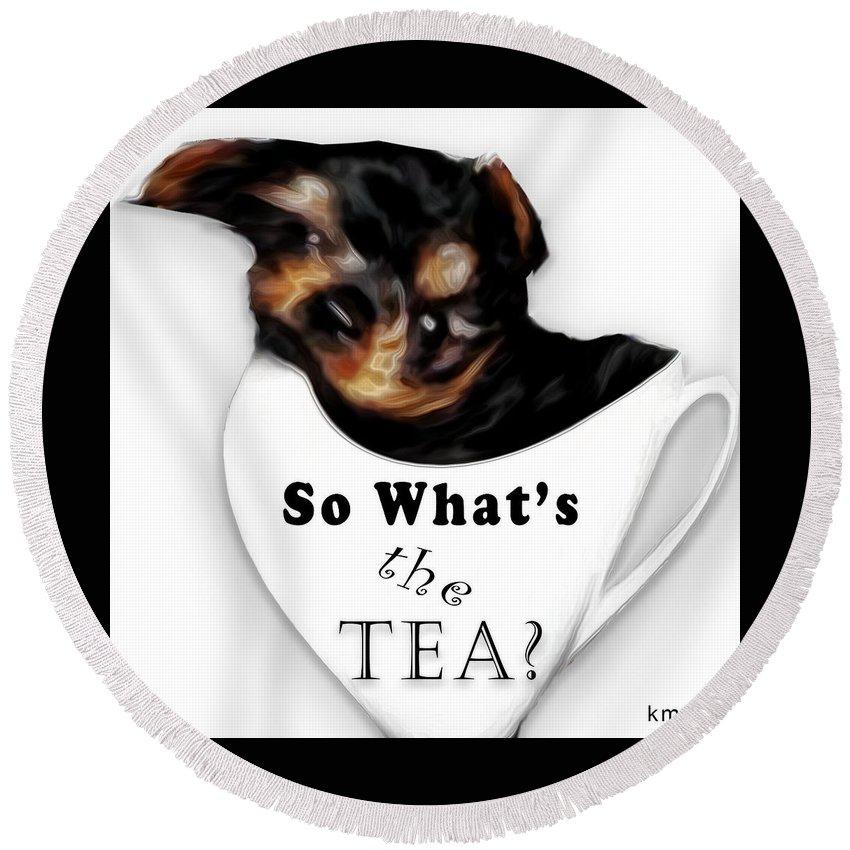 Animal Art Round Beach Towel featuring the digital art So What's The Tea? by Kanisha Moye