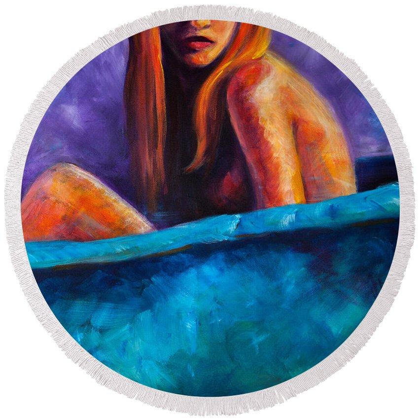 Nude Round Beach Towel featuring the painting Soak by Jason Reinhardt