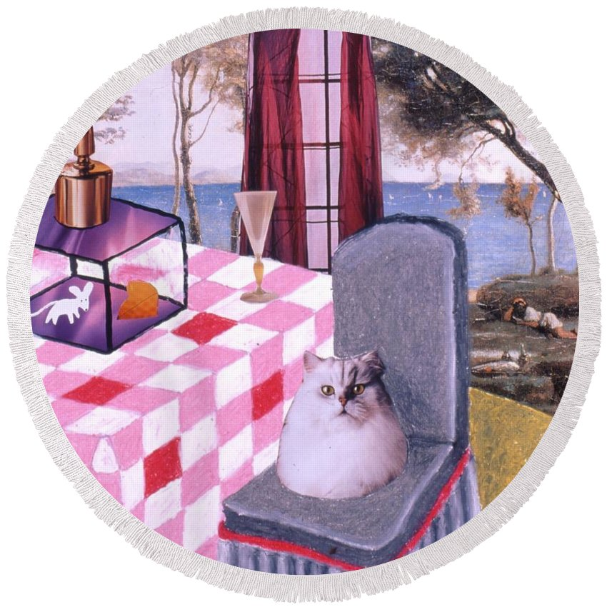 Cat Round Beach Towel featuring the drawing Soap Scene #14 Mouse In A Cage by Minaz Jantz