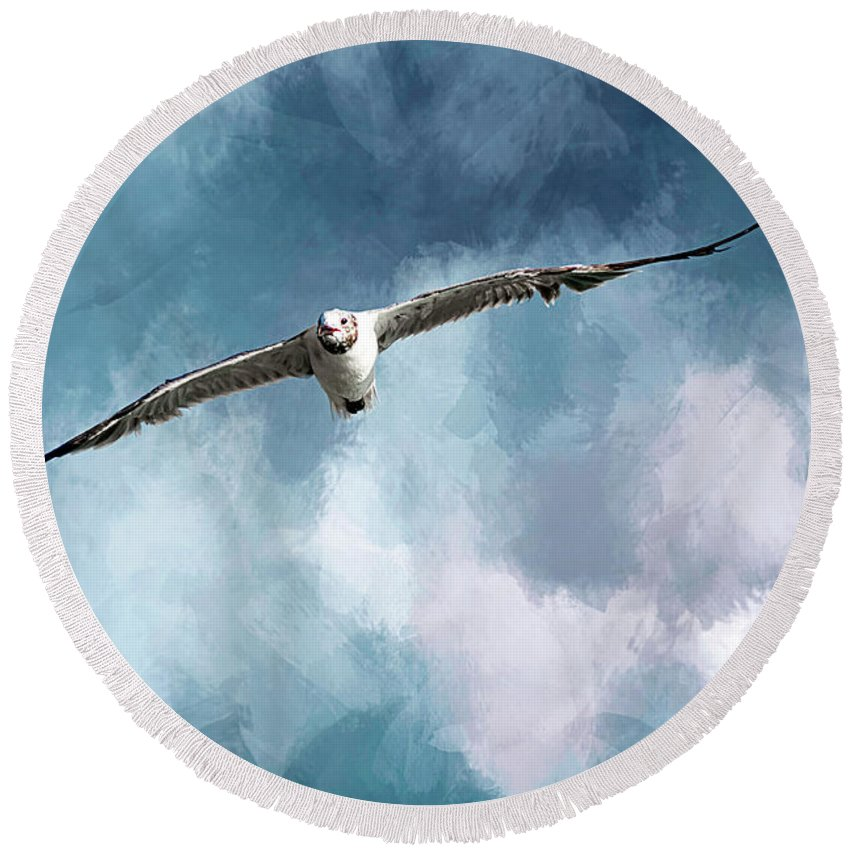 Seagull Round Beach Towel featuring the photograph Soaring by Cyndy Doty